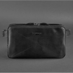 Сумка на пояс (crossbody) Everiot Bnote DropBag Maxi черная BN-BAG-20-g-kr из кожи Crazy Horse