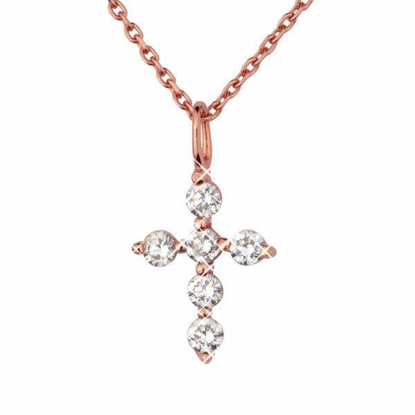 Крест из стали Everiot AAB-395GPSS цвета розового золота с фианитами