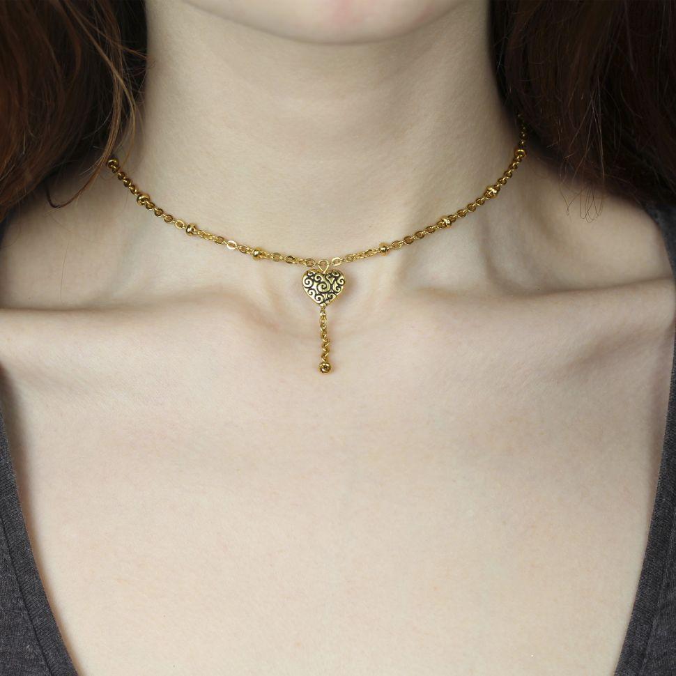 Женская цепочка-чокер Everiot LNS-9015 с подвеской в форме сердца