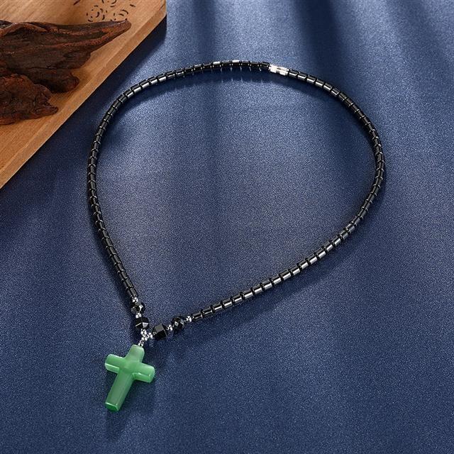 Ожерелье Everiot NC-XP-10998 с крестиком из гематита с опалом