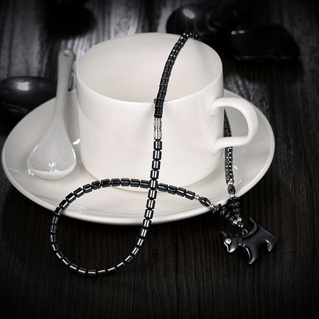 Ожерелье Everiot NC-XP-10987 из гематита с подвеской в виде собачки